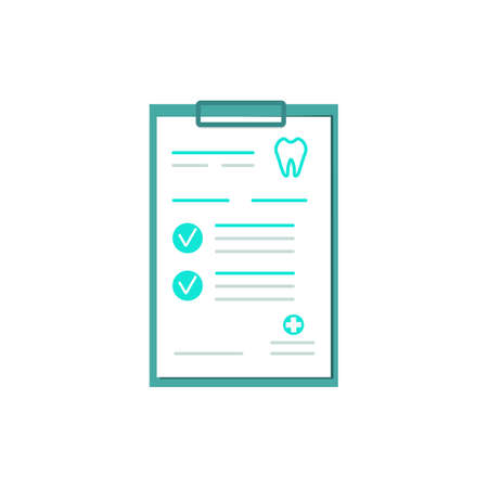 Clipboard with the teeth icon and dental clinic report on a white paper form. Clinical record, prescription, claim, medical report, health insurance form. Modern flat design. Vector illustration