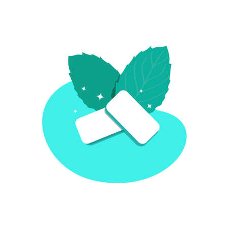 Mint-flavored gum pads. Fresh green mint leaves. Product for fresh breath. Chewing gum for healthy teeth and oral hygiene. Vector illustration isolated on a white background  イラスト・ベクター素材