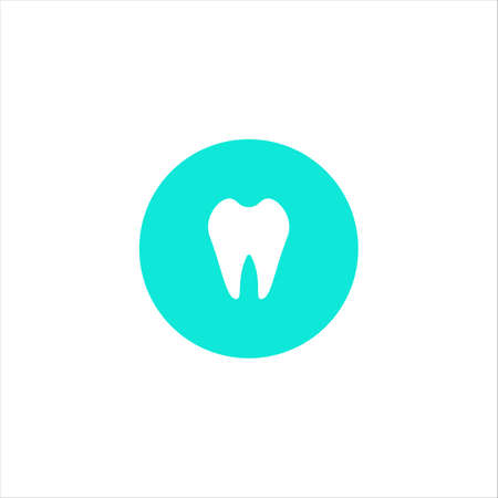 A healthy white tooth. Simple vector icon isolated. White silhouette on a blue background. The concept of dental care. Oral hygiene