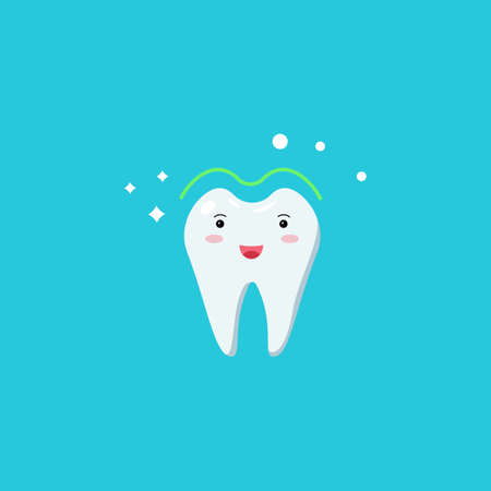 Healthy cute white shining tooth icon. Teeth whitening. Good oral hygiene of the oral cavity. Childrens dentistry, dental care. Vector illustration isolated on a blue background