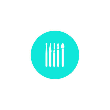 Dental instrument icon. Dental burs. Tips for dental drill. Dentistry. A simple vector icon in a flat style is isolated. White silhouette on a blue background