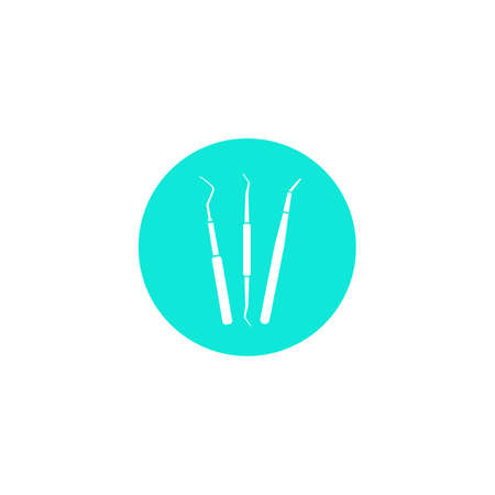 Dental instrument icon. Dentistry. Dental instruments for examination and treatment of the oral cavity. A simple vector icon in a flat style is isolated. White silhouette on a blue background