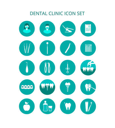 Dental clinic icon set. Vector icons of dental clinic services. Tools for examination, treatment and removal of teeth. Orthodontics, oral care and hygiene. Dental restoration, the staff of the clinic