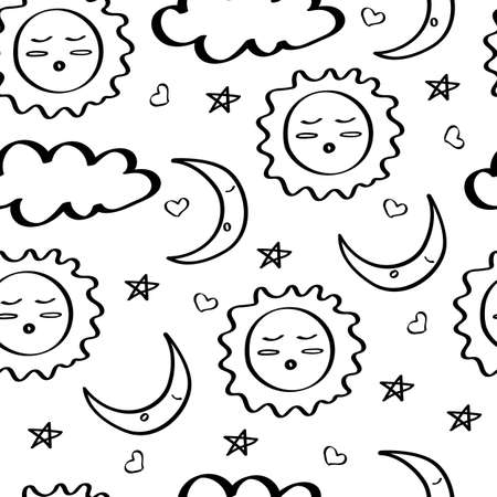 Good night doodle pattern. Time to go to bed. Seamless background with sleeping month and sun, clouds and stars. Black outline on a white background. For fabric, wallpaper, and childrens textiles