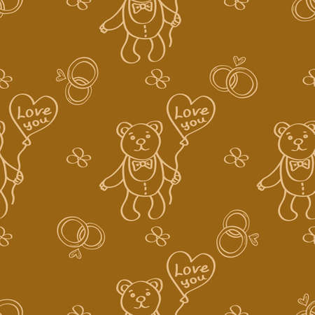 Romantic wedding hand-drawn gold background with cute teddy bear, wedding rings and balloon. Valentines Day doodle seamless pattern. Ideal for wrapping paper, textiles, wallpaper. Vector