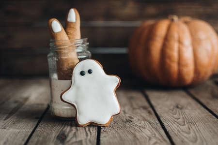 Halloween cookies. Halloween holiday concept. Pumpkin. Autumn mood. Happy Halloween.