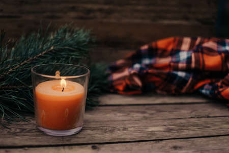 Flat lay winter cozy Christmas vintage background with copy space. Candle. Winter background. Christmas atmosphere. Christmas deer. Stock fotó