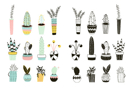 planners: Cute house plants in pots, hand drawn in scandinavian style. Colorful and monochrome botanical set. Perfect for stickers, planners, cards, invitations.