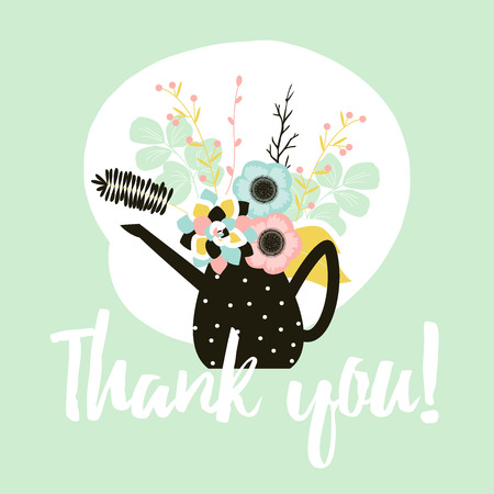 Flower Thank you card template with succulents, floral elements and branches. Stylish simple design.