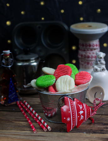 christmas peppermint patties homemade christmas candy and christmas decoration on rustic wooden table selective