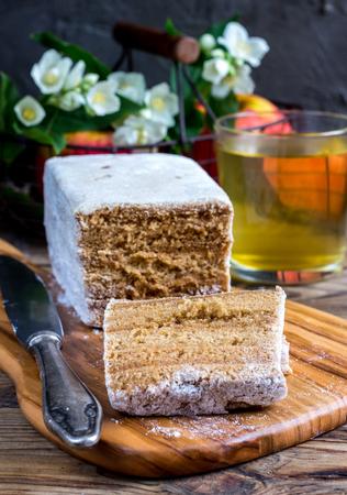 pastila: Traditional Russian dessert - pastila. Selective focus.  Stock Photo