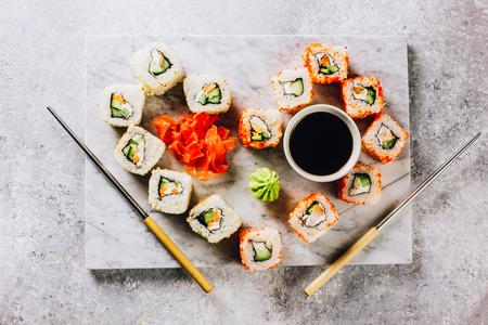 Japanese cuisine california roll and tuna roll Imagens