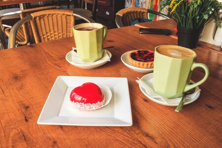 Cakes, tea and coffee in Coffee shop. Selective focus Stock Photo