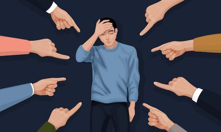 Depressed and sad young man surrounded by hands with index fingers pointing at he. Concept of guilt, accusation, public censure and victim blaming. Flat cartoon colorful vector illustration.