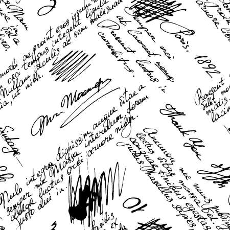 Vector seamless pattern with handwriting text and words in vintage style. Text unreadable. Spilled coffee. Smudges on the paper. Grunge background. Illustration