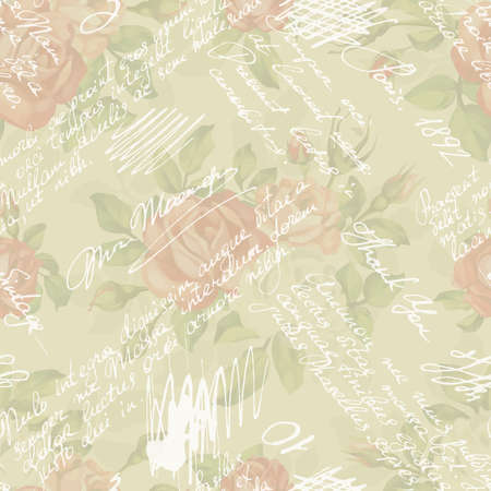Vintage seamless pattern with roses and handwriting text and words. Seamless Shabby chic flower background for you scrapbooking. Text unreadable.