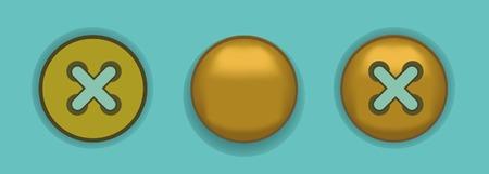 rivet: Gold metal rivet and button Illustration