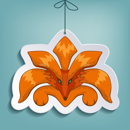 ringlet: Fox flat paper toy with shadow on the rope Illustration
