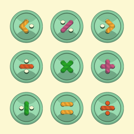 strings: Buttons with strings mathematics signs