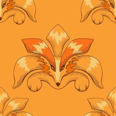 wattle: Fox pattern made in technique of ink dots