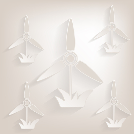 electricity supply: Flat windmill  Icon with shadow