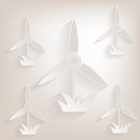 electricidad industrial: Icono molino plano con la sombra