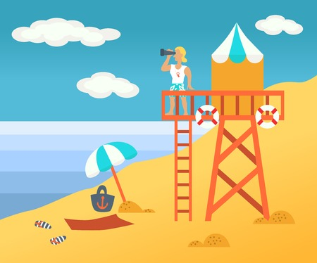 rescuer: Beach  male rescuer on a tower Illustration