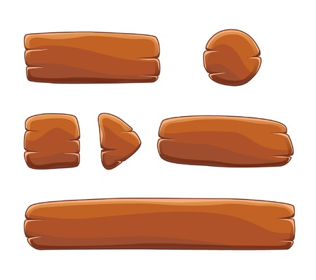 play button: Set of cartoon wooden buttons with different shapes, vector gui elements