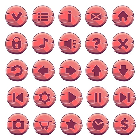 navigation buttons: Set of red wooden round buttons, vector game icons Illustration