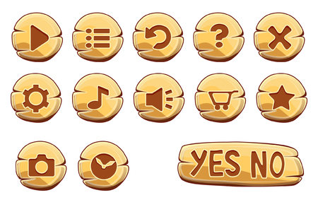 screenshot: Set of gold round buttons, vector game icons