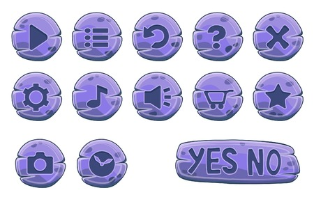 screenshot: Set of stone round buttons, vector game icons