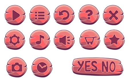 screenshot: Set of red wooden round buttons, vector game icons Illustration