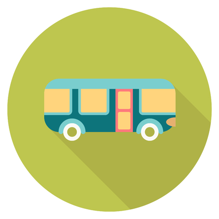 autobus: Round travel flat color bus Icon with shadow Illustration
