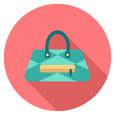 vocation: Round travel flat color bag Icon with shadow