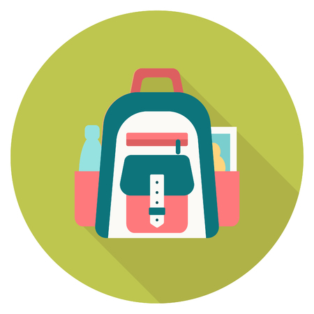 vocation: Round travel flat colour rucksack Icon with shadow