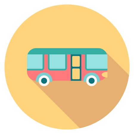 autobus: Round travel flat colour bus Icon with shadow Illustration