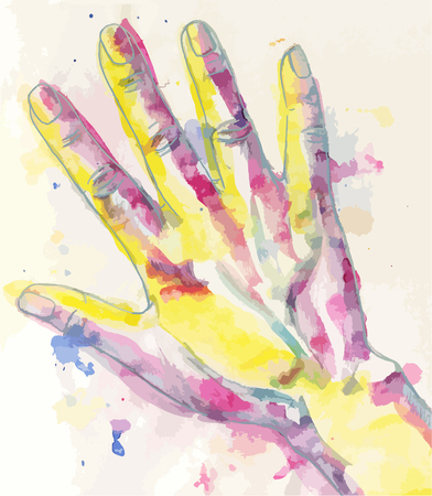 watercolour: Water-colour drawing of humans hand