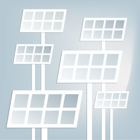 solar battery: Flat solar battery with shadow
