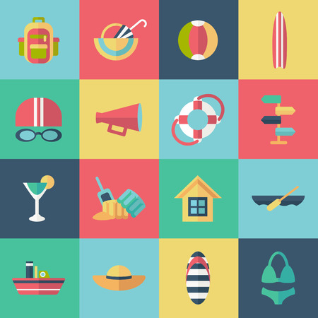 surfboard fin: Set of flat summer icons with shadow