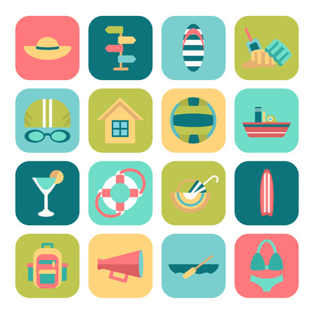 surfboard fin: Set of flat summer icons