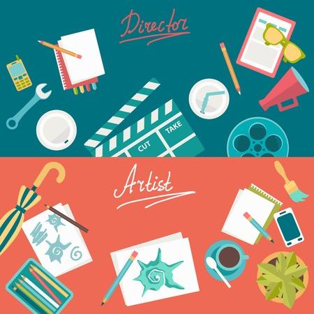 slateboard: Set of flat illustration concepts for design development and , logo design, graphic design, design agency. Concepts for web banner and printed materials.