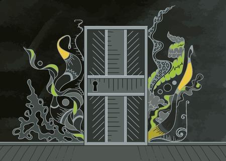 open the door: Open door of inspiration Illustration