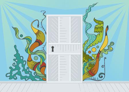 inspiration: Open door of inspiration Illustration