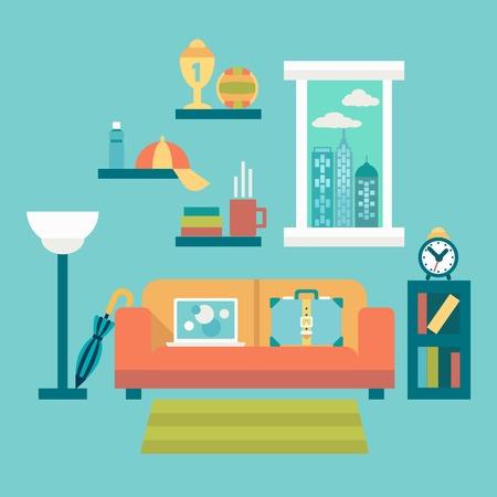 modern home: Flat design vector illustration of modern home