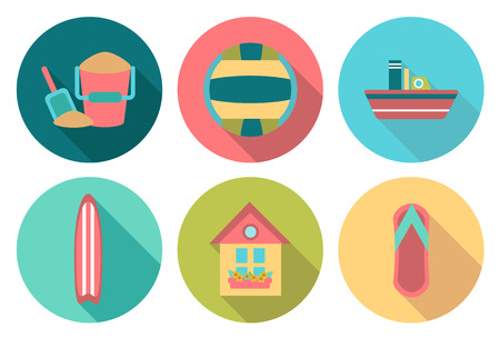 boat house: Set of flat summer icons with shadow
