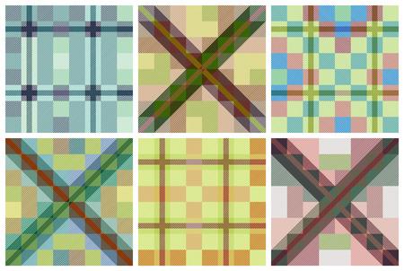 blue stripes: Set of seamless tartan patterns