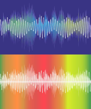analyzer: Set of vector music volume waves Illustration