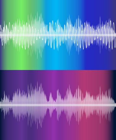 vibrations: Set of vector music volume waves Illustration