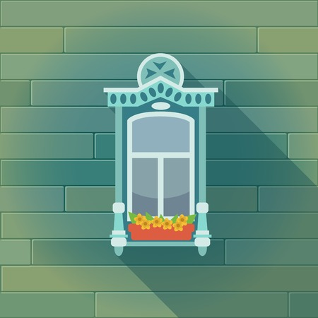balcony view: Illustration with a vintage window and the wooden wall Illustration