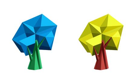crystallization: Low poly polygonal tree. Abstract vector Illustration. Logo design. Illustration